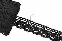 """Кружево льняное """"Openwork"""", длина 10 м, ширина 4 см, цвет черный, кружевная тесьма, лента из кружева"""
