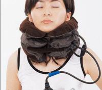 Надувний ортопедичний лікувальний комір на шию Ting Pai коричневий Brown, замшеве покриття, висота до 17 см,