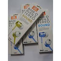 Наушники проводные вакуумные JBL A10 (E20) стерео, 3,5мм, mp3, проводные наушники вакуумные, наушники затычки
