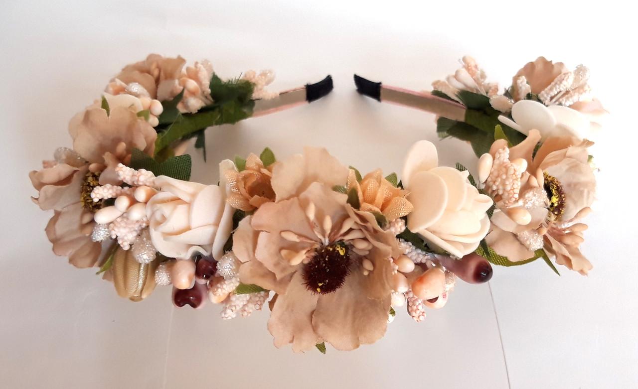 Обруч віночок ручна робота бежеві квіти