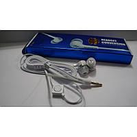 Наушники вакуумные проводные с микрофоном For-samsung белые, вакуумные наушники, наушники затычки