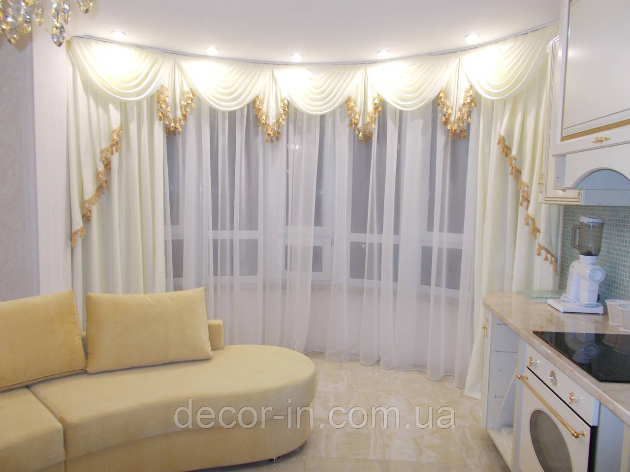 Комплект штор, ламбрекен и тюль на 4-4,5 м - Decor-In в Киеве