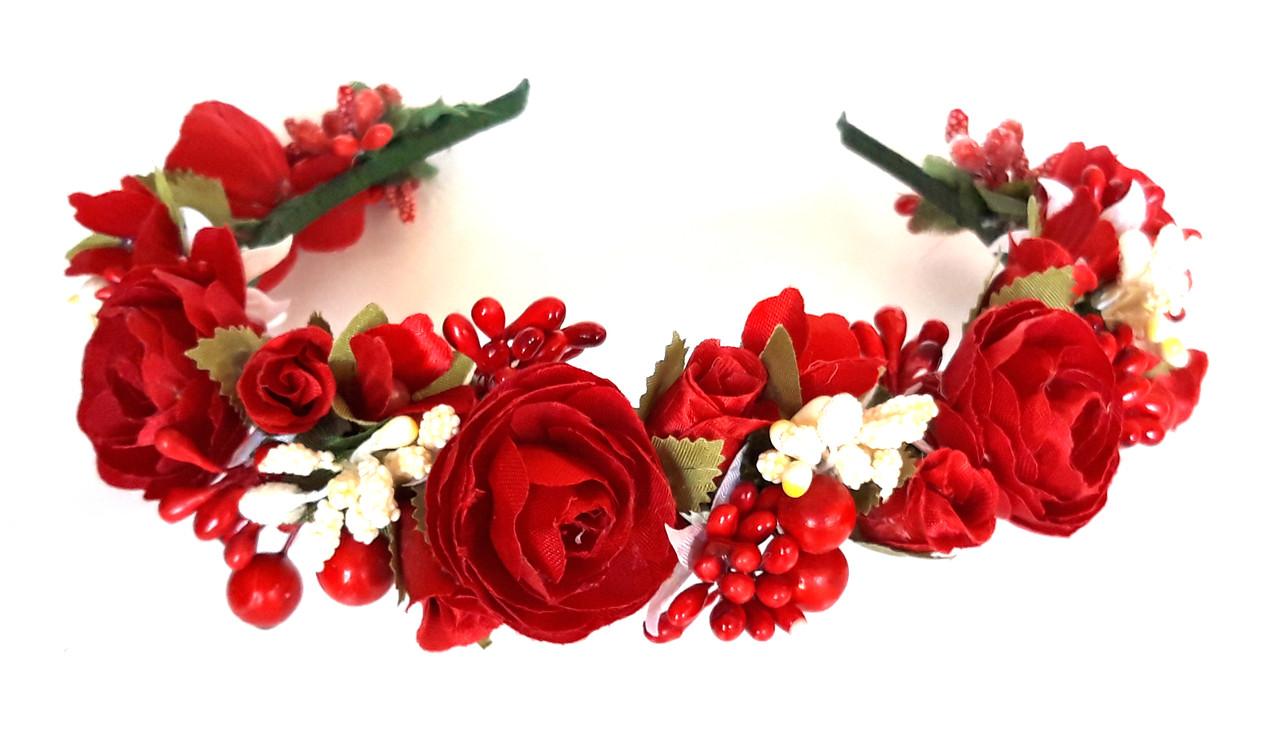 Обруч веночек ручная работа белые ягодки и красные цветы