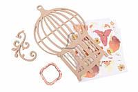 """Рамка-самоделка """"Декоративная клетка"""" для фото, коричневого цвета, ширина 24см, высота 40см, фанера, бумага,"""