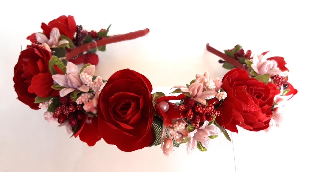 Обруч веночек ручная работа розовые ягодки и красные цветы