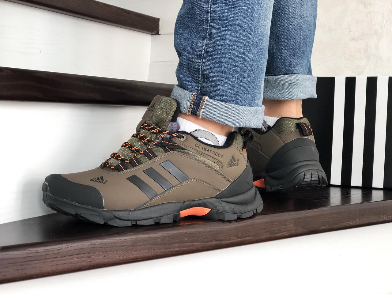 Кроссовки мужские Adidas Climaproof  осенние теплые удобные спортивные (зеленые), ТОП-реплика