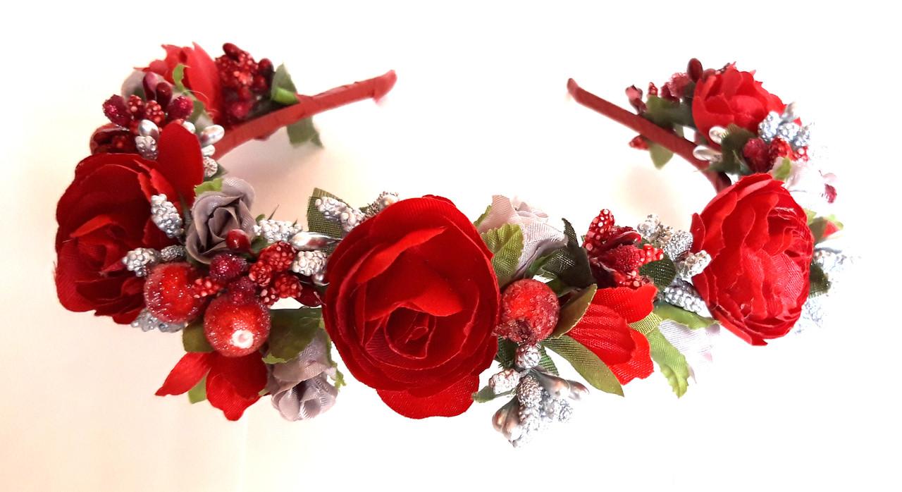 Обруч веночек ручная работа ягодки и красные цветы
