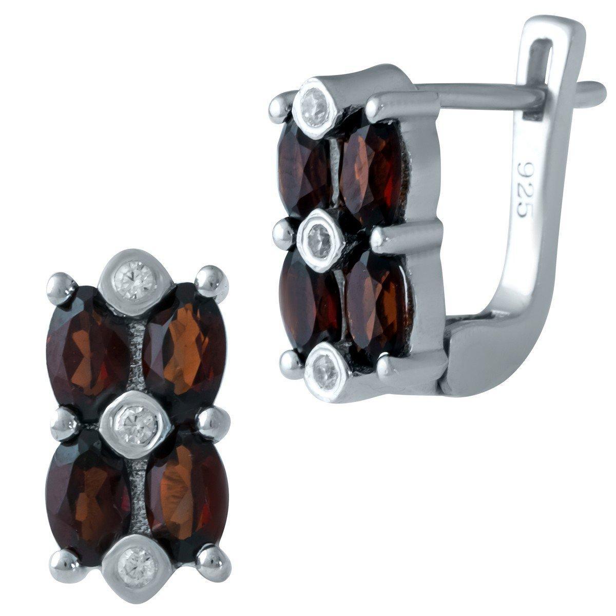 Серебряные серьги DreamJewelry с натуральным гранатом (1938676)