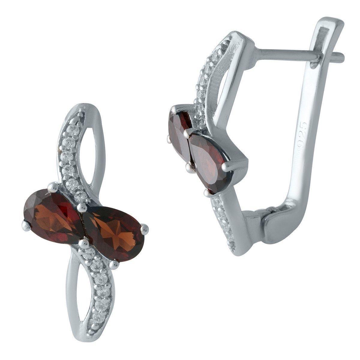 Срібні сережки DreamJewelry з натуральним гранатом (1996614)