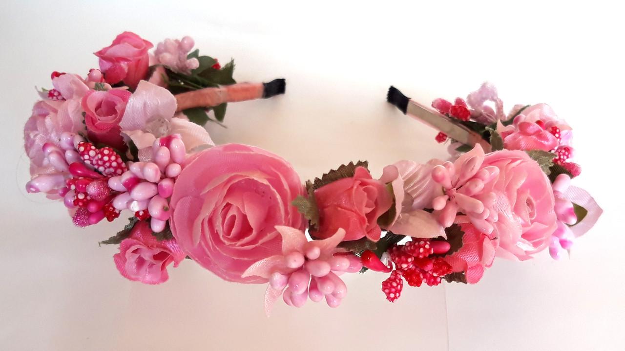 Обруч веночек ручная работа ягодки и розовые цветы