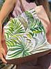 Сумка шоппер  на молнии женская непромокаемая из экокожи и канваса принт цветы пальмы