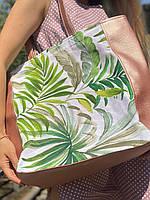 Сумка шоппер  на молнии женская непромокаемая из экокожи и канваса принт цветы пальмы, фото 1