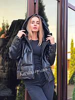 Осенняя женская черная оверсайз куртка с капюшоном