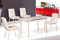 Стол кухонный обеденный раскладной стеклянный Микс Мебель Лаура (ШхГ - 1100(+400)х750 мм)