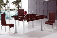 Стол кухонный обеденный раскладной стеклянный Микс Мебель Тиффани (ШхГ - 600(+400)х1000 мм)