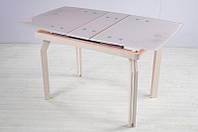 Стол кухонный обеденный раскладной стеклянный Микс Мебель Валенсия (Сити) (ШхГ - 1000(+200)х700 мм)