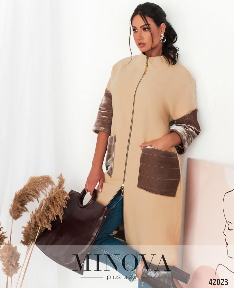 Кашемировое бежевое женское пальто с бархатными вставками,  больших размеров  от  50 до 62