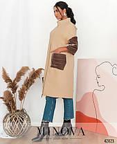 Кашемировое бежевое женское пальто с бархатными вставками,  больших размеров  от  50 до 62, фото 3