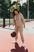 Женский спортивный костюм бежевый с худи оверсайз.