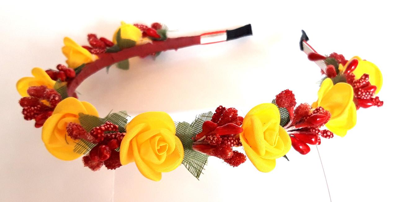 Обруч веночек ручная работа красные ягодки и желтые розочки