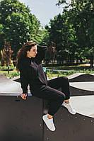 Женский спортивный костюм черный с худи оверсайз на осень/весну