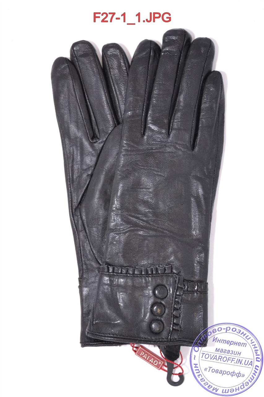 Женские кожаные зимние перчатки на меху кролика (мех искусственный) - F27-1