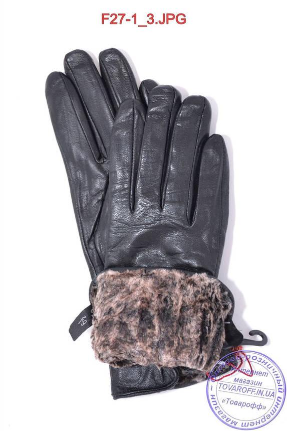 Женские кожаные зимние перчатки на меху кролика (мех искусственный) - F27-1, фото 2