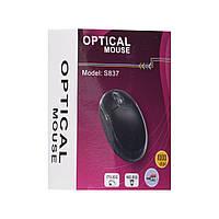 USB Мышь для компьютера и ноутбука Сonvolves  S837 черная, 100Dpi, с подсветкой, 1,4м, 3 кнопок, компьютерные мыши