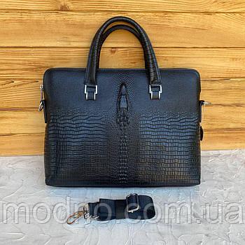 Мужской кожаный деловой портфель со структурой под крокодила
