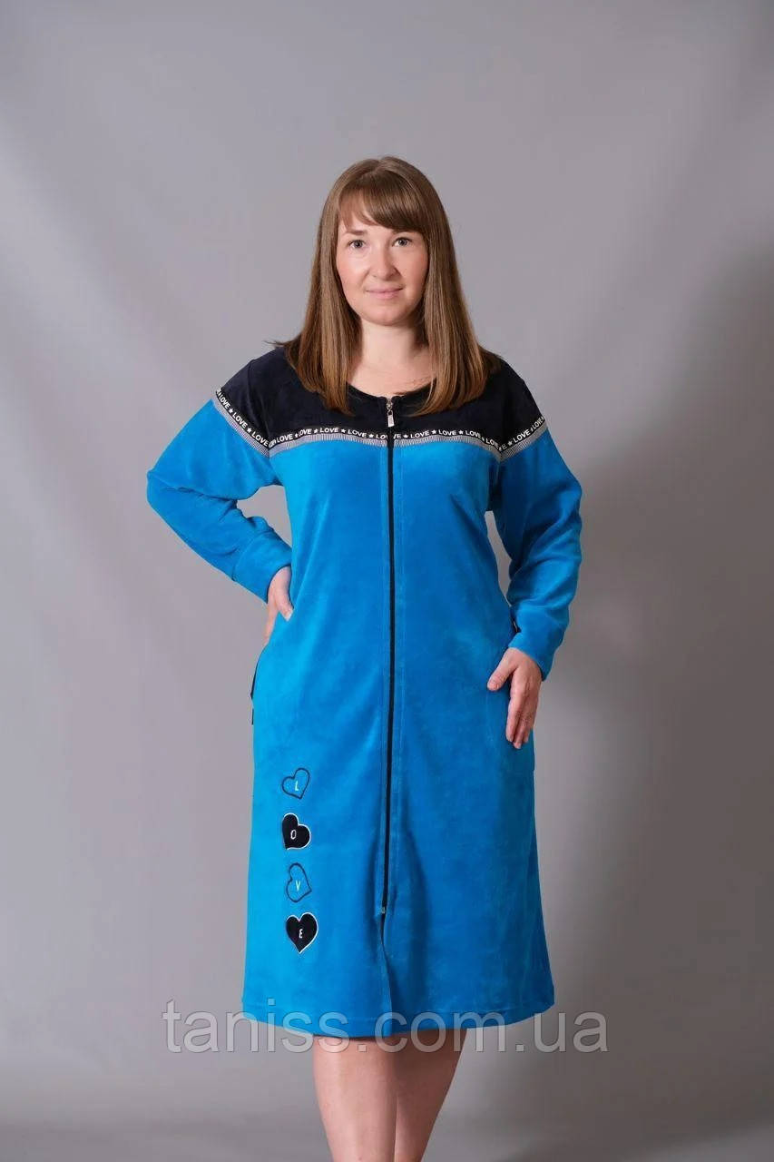 Халат жіночий велюровий великого розміру, на блискавці, середньої довжини р. 54,56,58 різні кольори