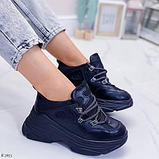 Кросівки жіночі чорні на платформі з еко шкіри. Кросівки жіночі чорні на платформі, фото 2