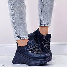 Кросівки жіночі чорні на платформі з еко шкіри. Кросівки жіночі чорні на платформі, фото 3