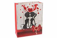 """Бумажный пакет для упаковки подарков """"Влюбленные"""" 12шт, 26х10х32см, упаковка для подарка, бумажный подарочный"""
