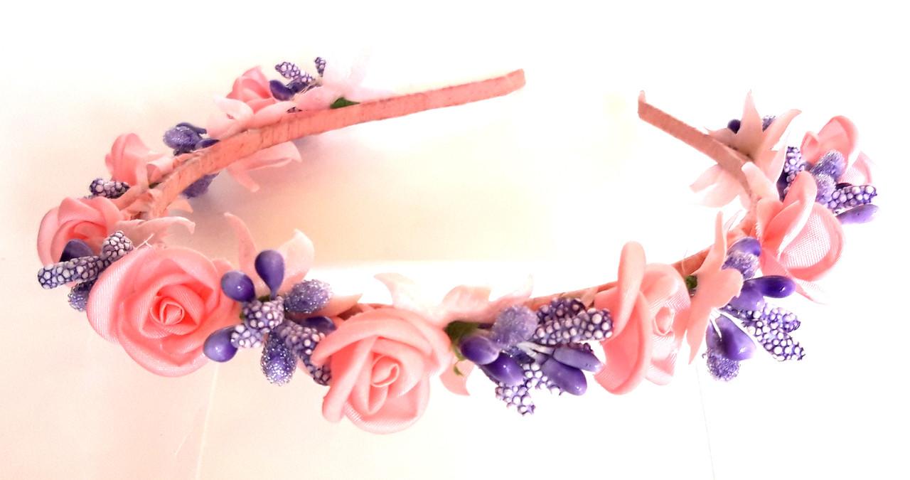 Обруч веночек ручная работа сиреневые ягодки и розовые розочки