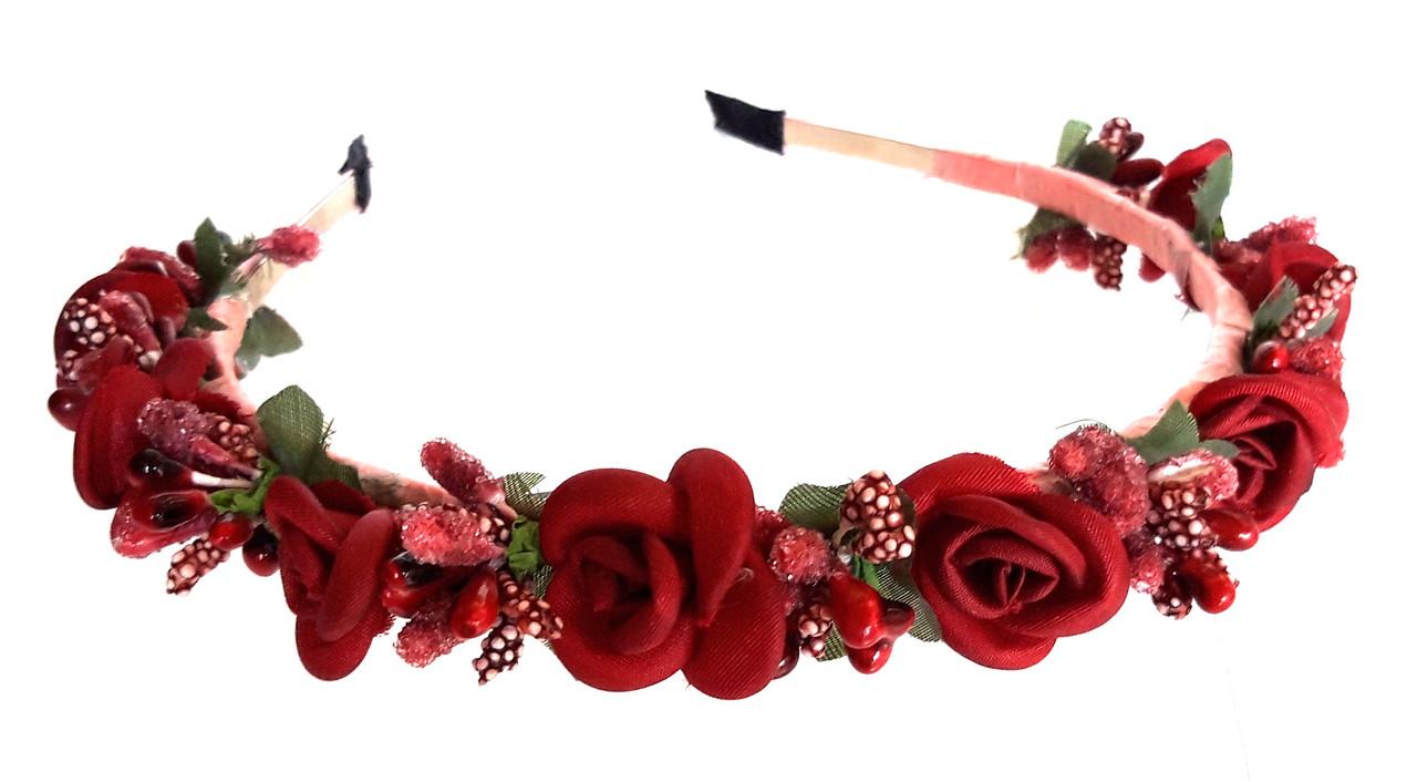 Обруч веночек ручная работа ягодки и бордовые розочки