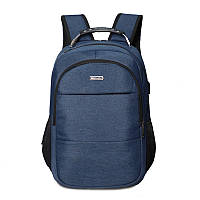 Стильный городской синий унисекс рюкзак для ноутбука с USB зарядкой, рюкзак зарядка