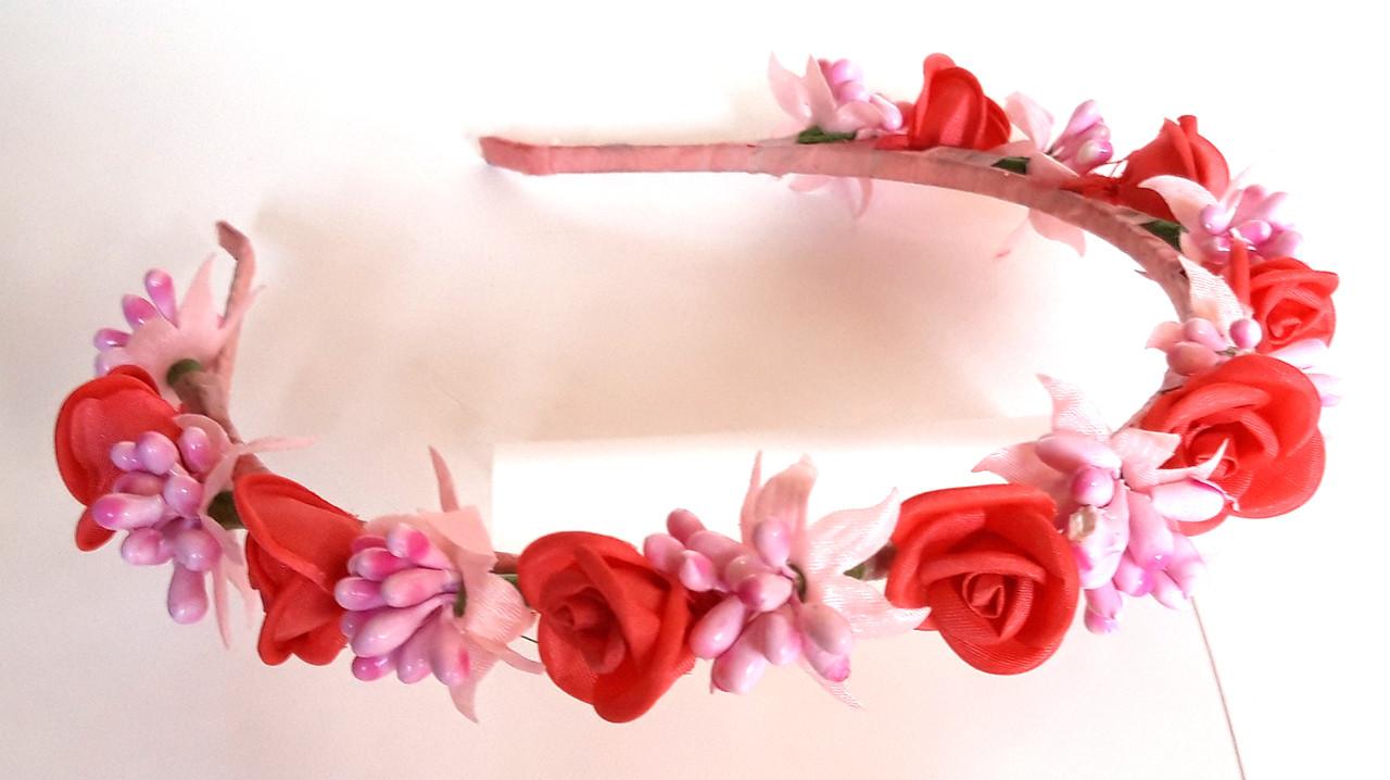 Обруч веночек ручная работа розовые ягодки и коралловые розочки