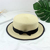 Шляпа женская летняя канотье в стиле Maison Michel кремовая