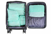 Косметичка дорожная Layia с мятными сумками, ткань, 36,5х16,5х10см, 24x16.5x12см, 18.5x12x6см, 39x30.5см,
