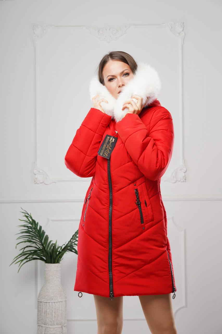 Зимние женские куртки  модные  44-58 красный мех песец-альбинос