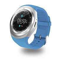 Умные смарт часы Y1X с функцией фитнес-браслета, голубые, Android, Bluetooth, микрофон, microUSB/SIM, смарт