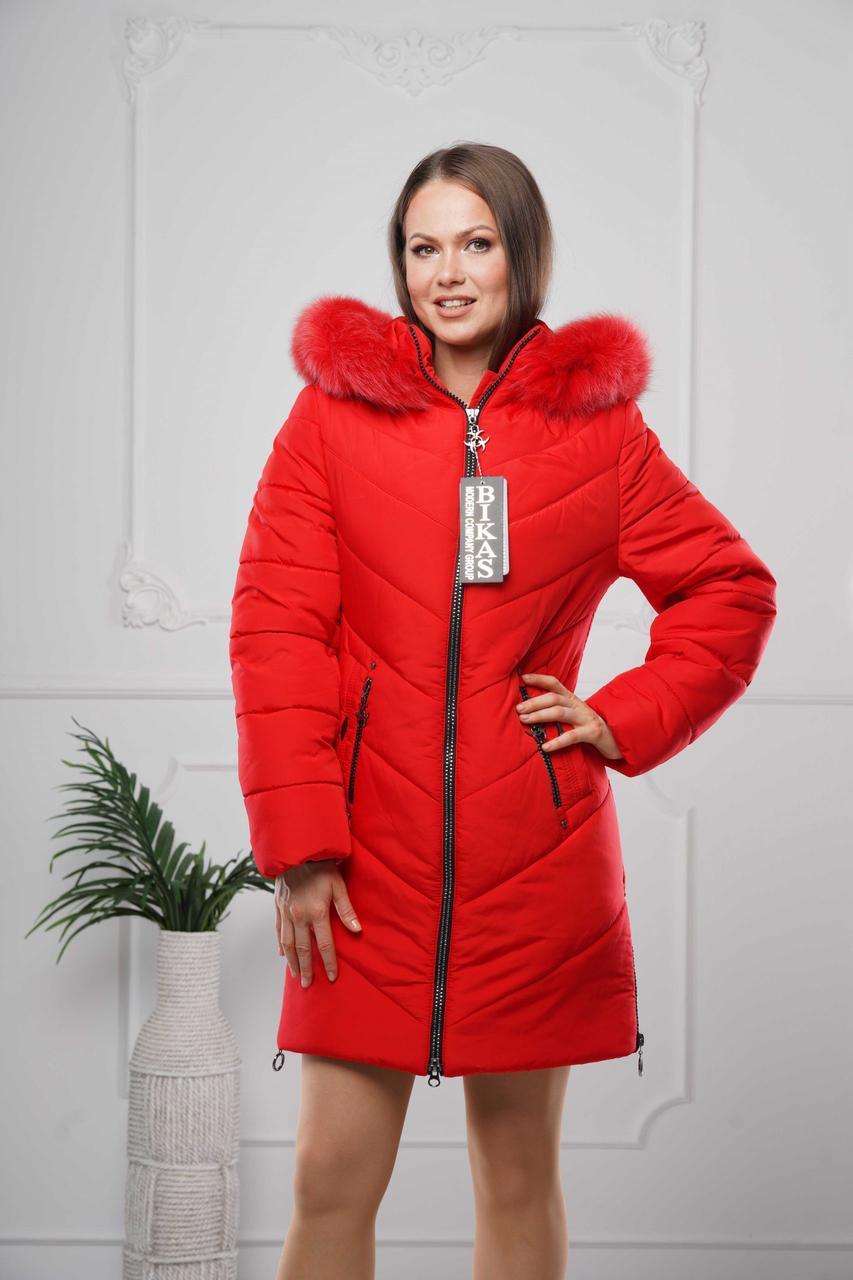 Зимові жіночі куртки модні 44-58 червоний хутро хвіст песця