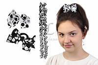 Дитячий гумка бантик для волосся з стрічок Горох чорно-білий, 12шт, гумка для волосся, дитячі гумки для волосся