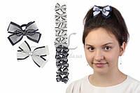 Дитячий гумка бантик для волосся з стрічок Allagoptera чорно-біла, 12шт, гумка для волосся, дитячі гумки для волосся