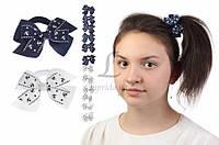 Дитячий гумка бантик для волосся з стрічок Alstonia чорні/білі, 12шт, гумка для волосся, дитячі гумки для волосся