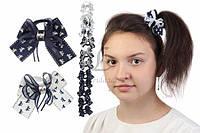Дитячий гумка бантик для волосся з стрічок Aleurites чорно-біла, 12шт, гумка для волосся, дитячі гумки для волосся