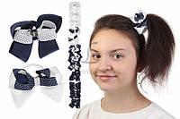 Дитячий гумка бантик для волосся з стрічок Alberta чорні/білі, 12шт, гумка для волосся, дитячі гумки для волосся