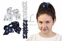 Дитячий гумка бантик для волосся з стрічок Якір чорні/білі, 12шт, гумка для волосся, дитячі гумки для волосся