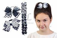 Дитячий гумка бантик для волосся з стрічок Горох чорно/біла, 12шт, гумка для волосся, дитячі гумки для волосся