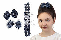 Дитячий гумка бантик для волосся з стрічок Aldrovanda чорно-біла, 12шт, гумка для волосся, дитячі гумки для волосся